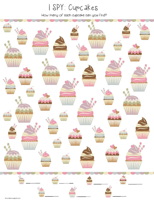 cupcake I SPY printable game