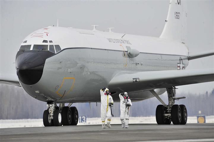On April 12 2017 One Of The U S Air Force S Wc 135 Constant Phoenix Aircraft Which Scoops Up Air To Search For Tell Tale Signs Of Nuclear Activity