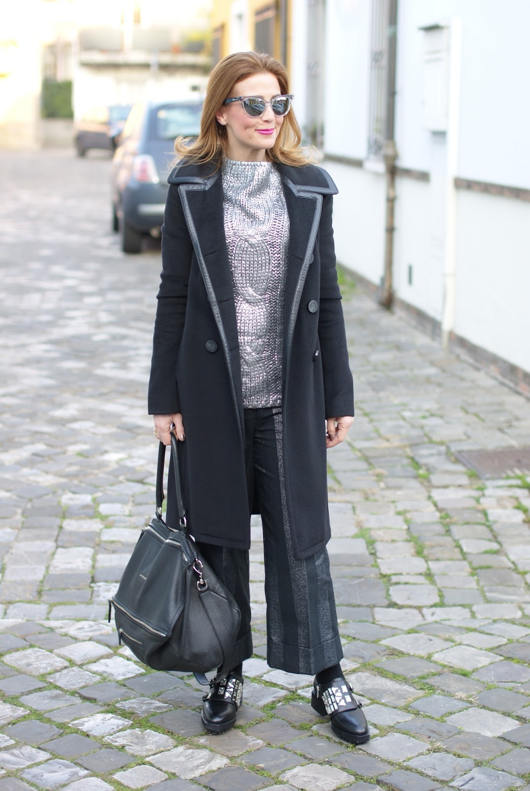 Balenciaga black coat with leather trim, black and silver look on Fashion and Cookies fashion blog, fashion blogger style