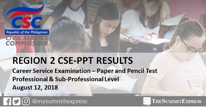 August 2018 Civil Service Exam result CSE-PPT: Region 2 list of passers