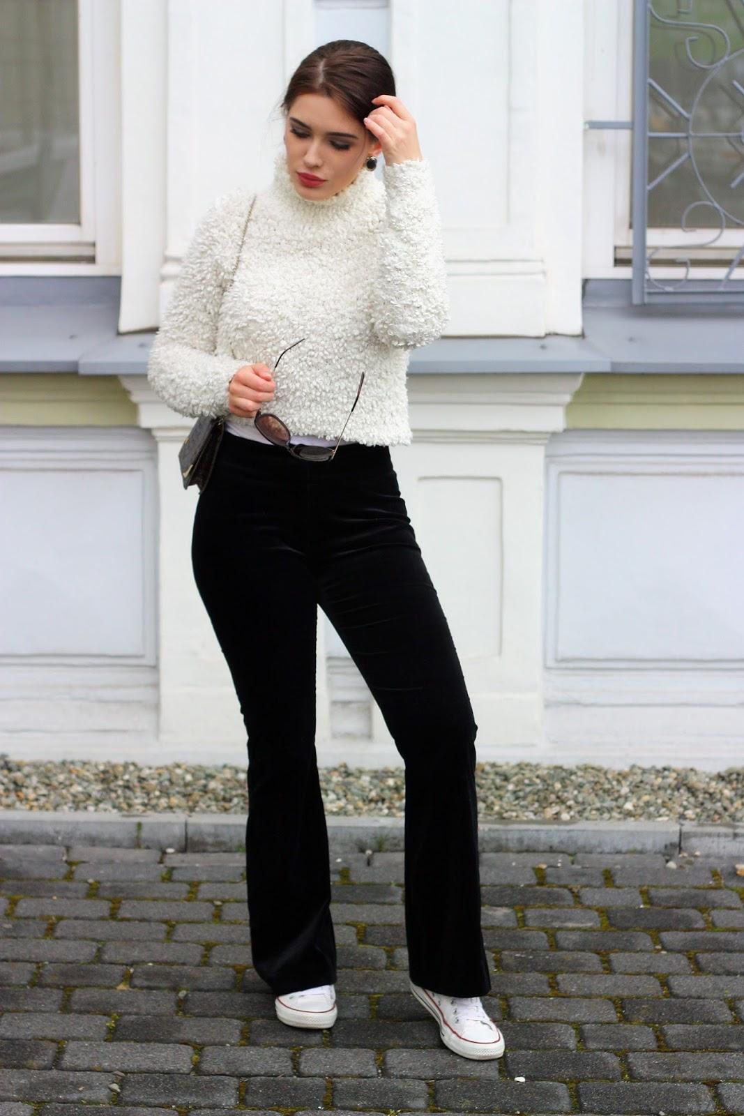 fluffy sweater, velvet pants, flares, flare pants, spodnie dzwony