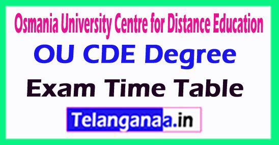Osmania University Centre for Distance Education OU CDE Degree Exam Time Table