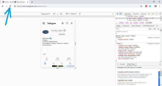 cara upload foto di instagram windows 10