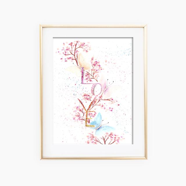 Love Butterflies Watercolor Art