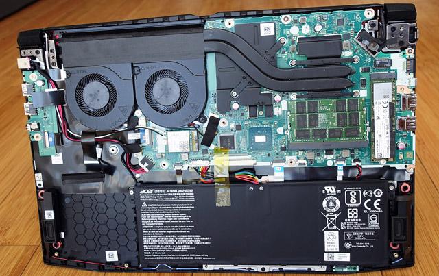 interior do notebook aberto acer aspire nitro 5
