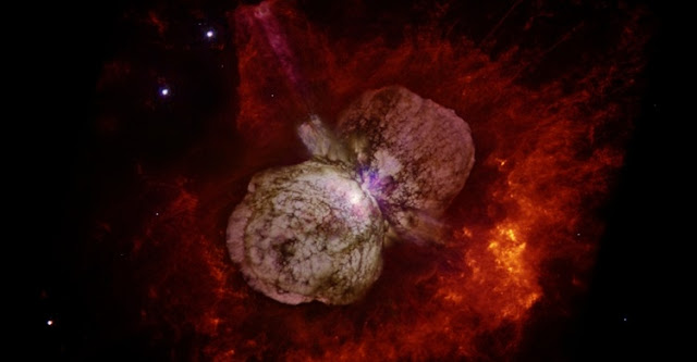 Huge, billowing gas and dust clouds are captured in this stunning NASA Hubble Space Telescope image of the supermassive star Eta Carinae. (Image: Nathan Smith/UA and NASA)