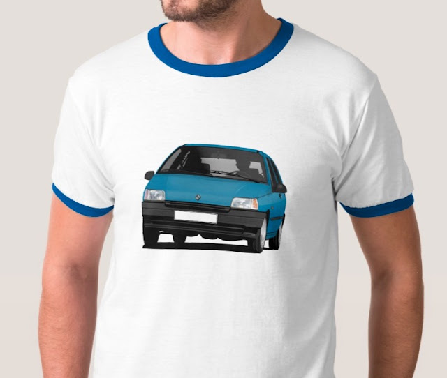 Zazzle Renault Clio blue t-shirt - illustration