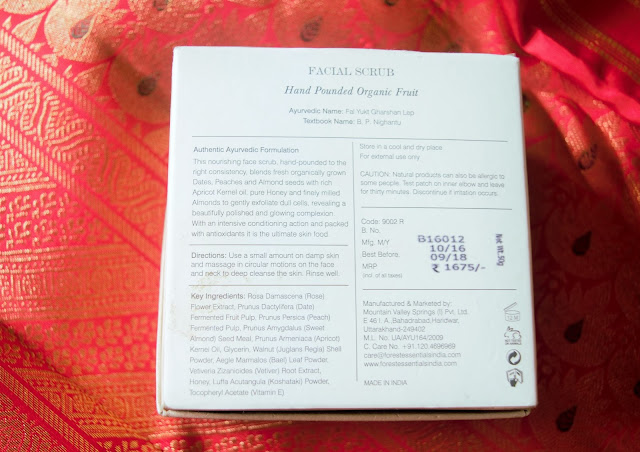 FOREST ESSENTIALS HAND POUNDED ORGANIC FRUIT SCRUB ingredients