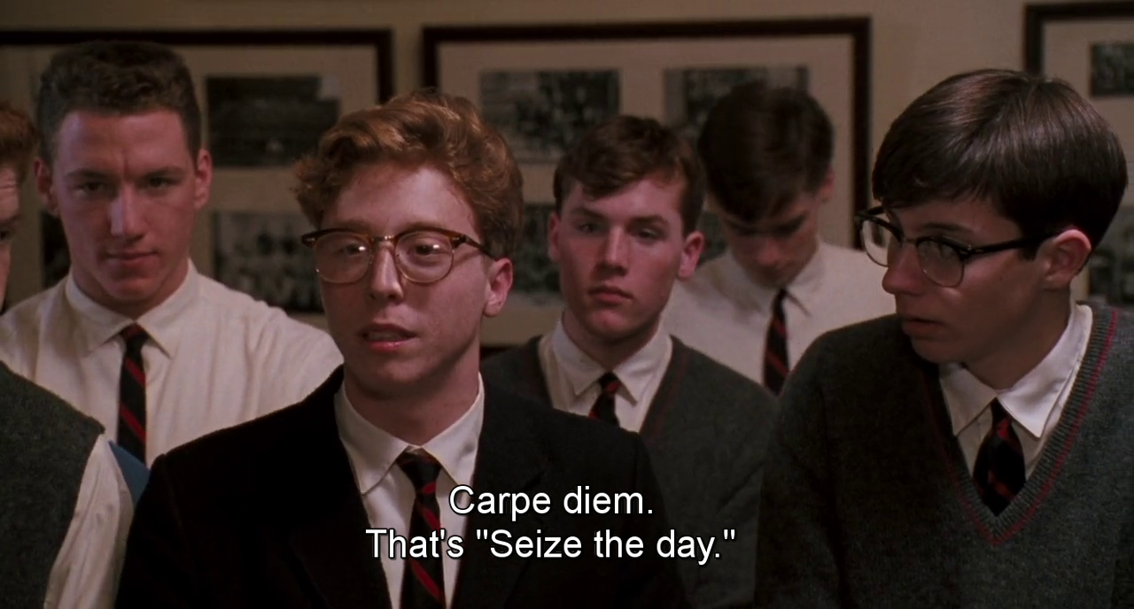 dead poets society carpe diem essay Conflict in dead poets society essay neil perry, with the possible exception of charlie dalton, is the most ardent disciple of keating's carpe diem philosophy this sets him up for a confrontation with the conservative forces in the film.