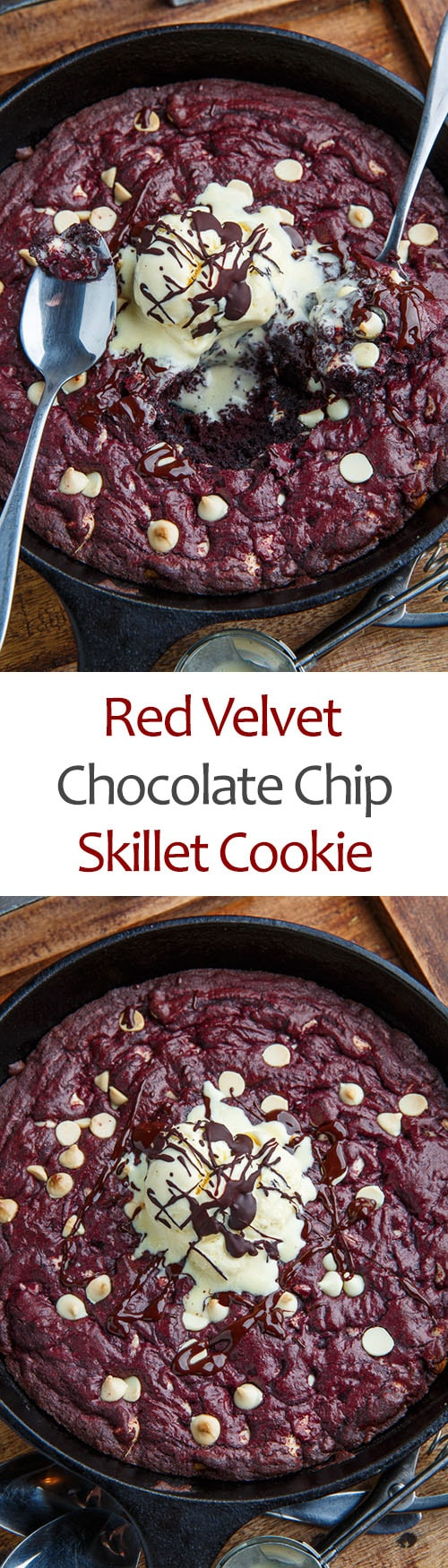 Red Velvet White Chocolate Chip Skillet Cookie