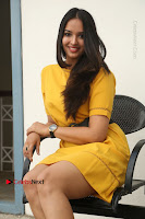 Actress Poojitha Stills in Yellow Short Dress at Darshakudu Movie Teaser Launch .COM 0234.JPG
