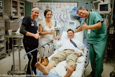 Groom gets bitten by rattlesnake during wedding photo shoot, returns for the reception.