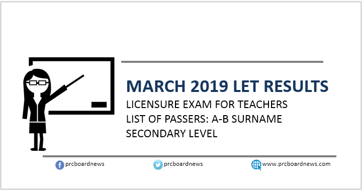 A-B Passers: March 2019 LET Results Secondary Level