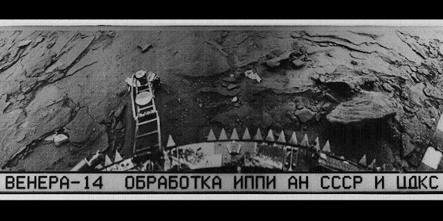 "Venera 14 image from the surface of Venus. The Cyrillic text below the picture reads: ""Venera 14 Obrabotka IPPI AN SSSR TsDKS"", short for ""Venera 14, Processing, Institute for Problems in Transmitting Information, Academy of Sciences, Union of Soviet Socialist Republics, Centre for Long-Distance Space Communications"". Credit: ucl.ac.uk"