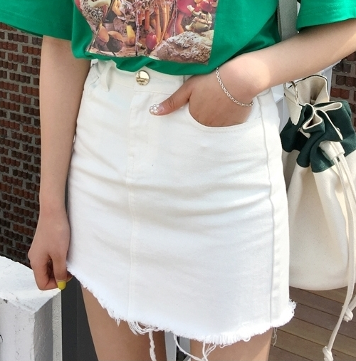 Frayed Mini Skirt