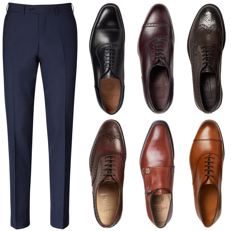 98874c9197f65 Granatowe spodnie i pasujące kolory butów. Źródło: eu.suitsupply.com,  mrporter.com, cheaney.co.uk