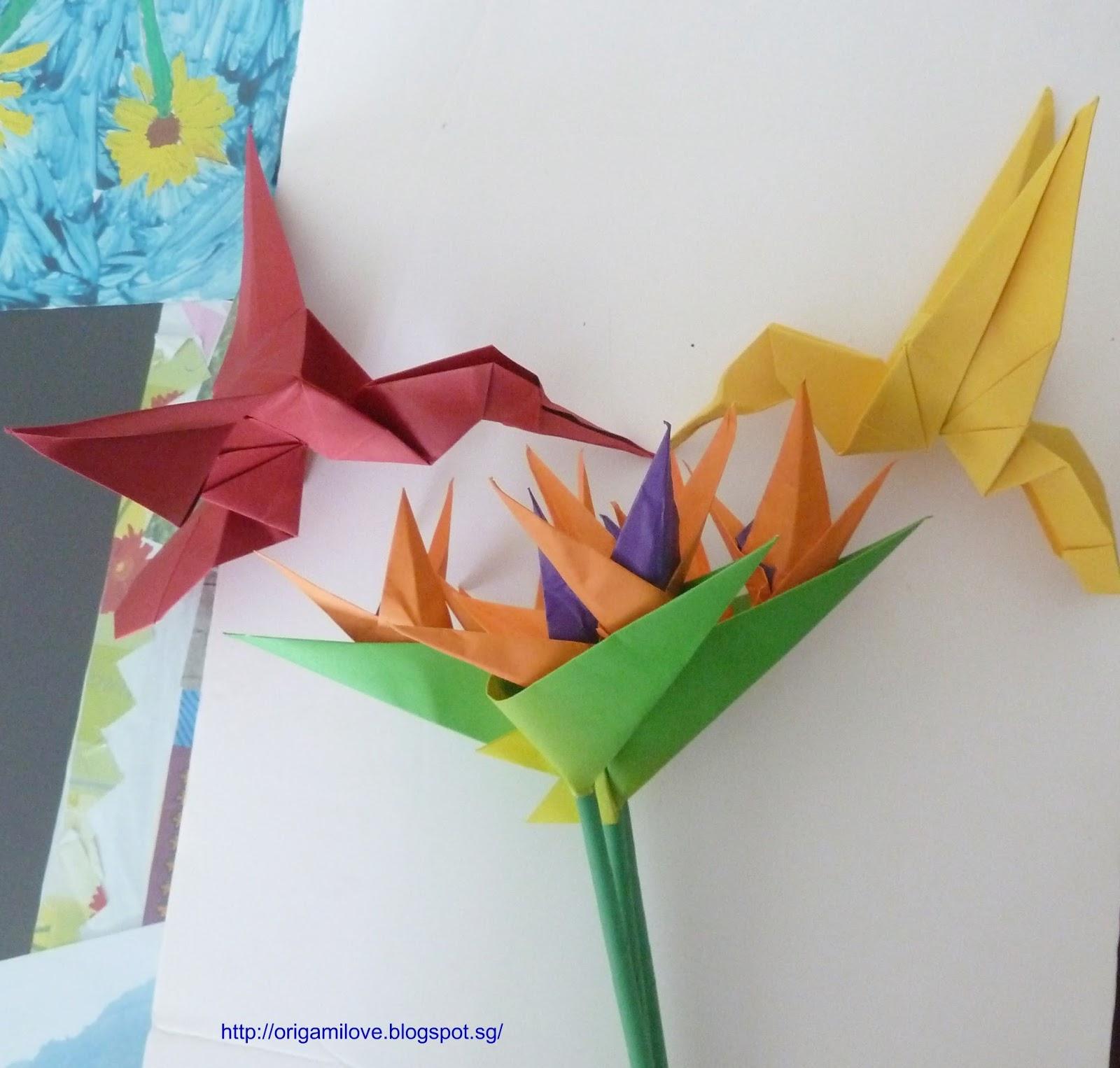 Origami Hummingbird Diagram Instructions Baldor Motor Wiring Single Phase Bird Of Paradise Flower Tutorial