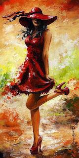 Cuadros Mujeres con Vestidos Rojos