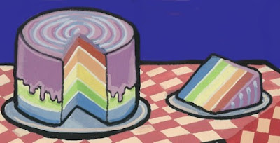 Rainbow Cake by Alisa Perks, gouache on paper