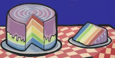 Rainbow Cake by Alisa Perks, gouache on paper