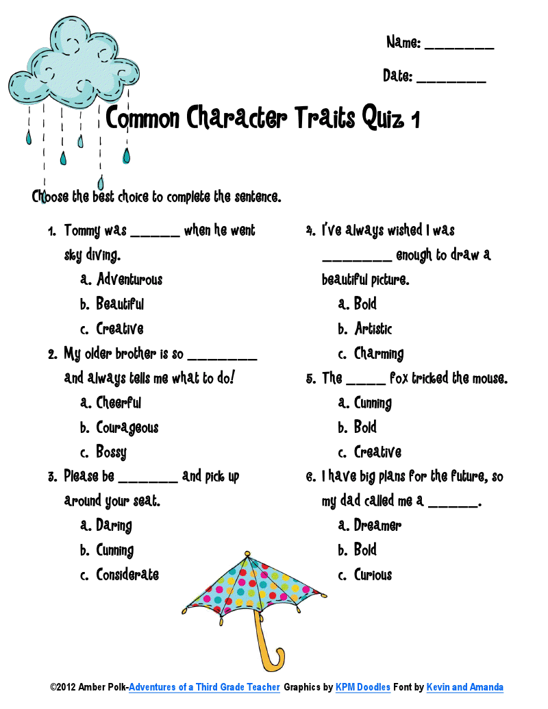 3-6 Free Resources: Character Traits Vocabulary [ 1035 x 800 Pixel ]