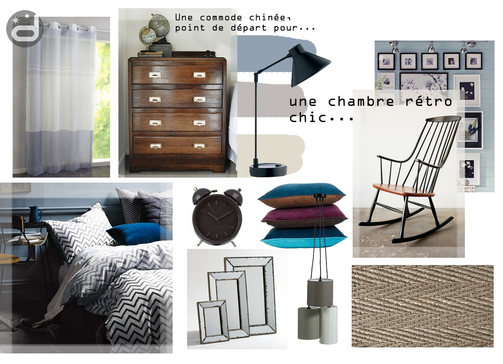 divin 39 id le blog d co planche d 39 ambiance pour une chambre r tro mood board for a retro bedroom. Black Bedroom Furniture Sets. Home Design Ideas