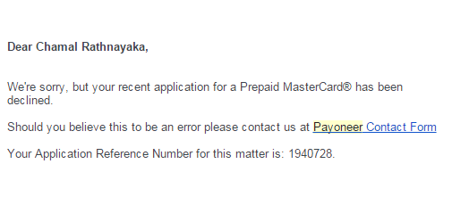 application declined message from payoneer