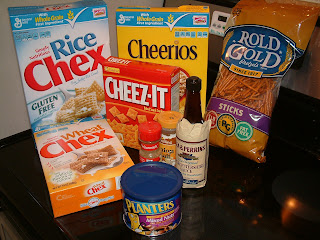 General Mills Rice and Wheat Chex and Cheerios, Rold Gold Pretzel Sticks, Cheez-Its, Lea & Perrins® Worcestershire Sauce, Planters Mixed Nuts, Onion and Celery Salt