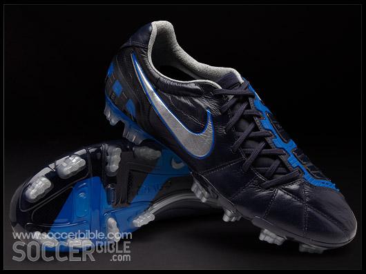 fdb873f1949 Nike T90 Laser III K Leather Football Boots Dark Obsidian Metallic Silver
