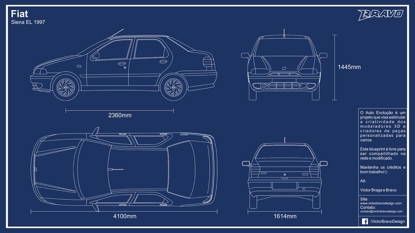 Imagem mostrando o desenho do blueprint do Fiat Siena EL 1997