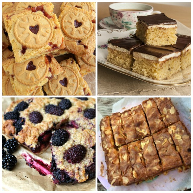 Traybake recipes - Jammie Dodger Blondies, Tweed Squares, Shortbread fruit & almond slice, Blackberry oaty traybake.