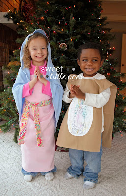 Catholic Liturgical Living: Our Lady of Guadalupe and St. Juan Diego Feast Day Celebration Ideas, Recipes, and DIY Tilma Craft www.sweetlittleonesblog.com
