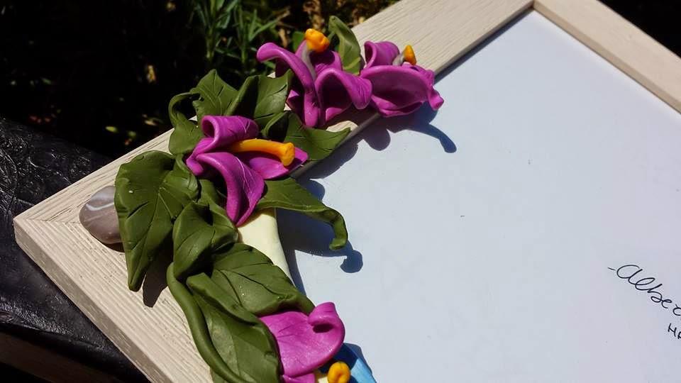 Cornice bouganville fiori in fimo fatta a mano