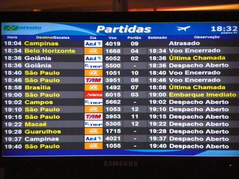 Monitores com informação de voos