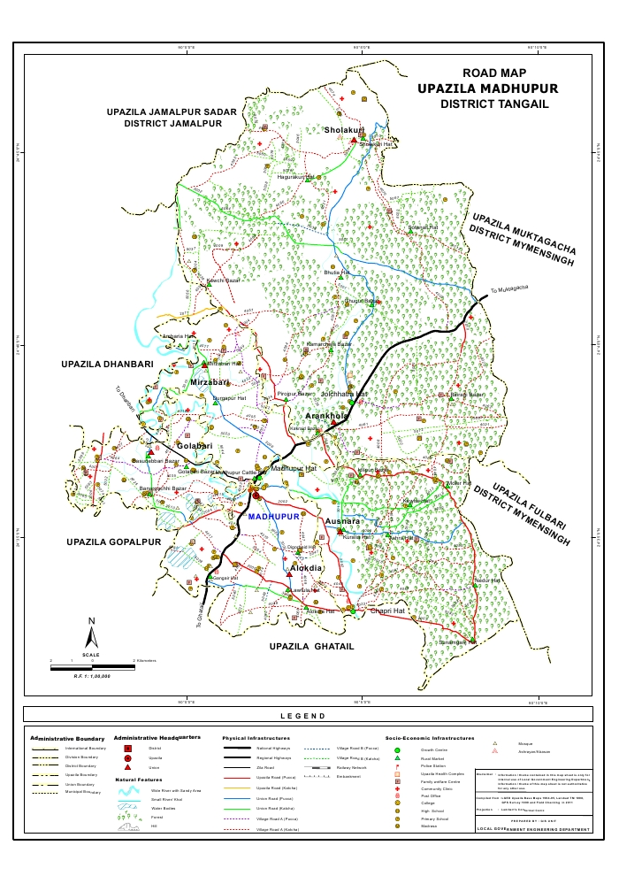 Madhupur Upazila Road Map Tangail District Bangladesh