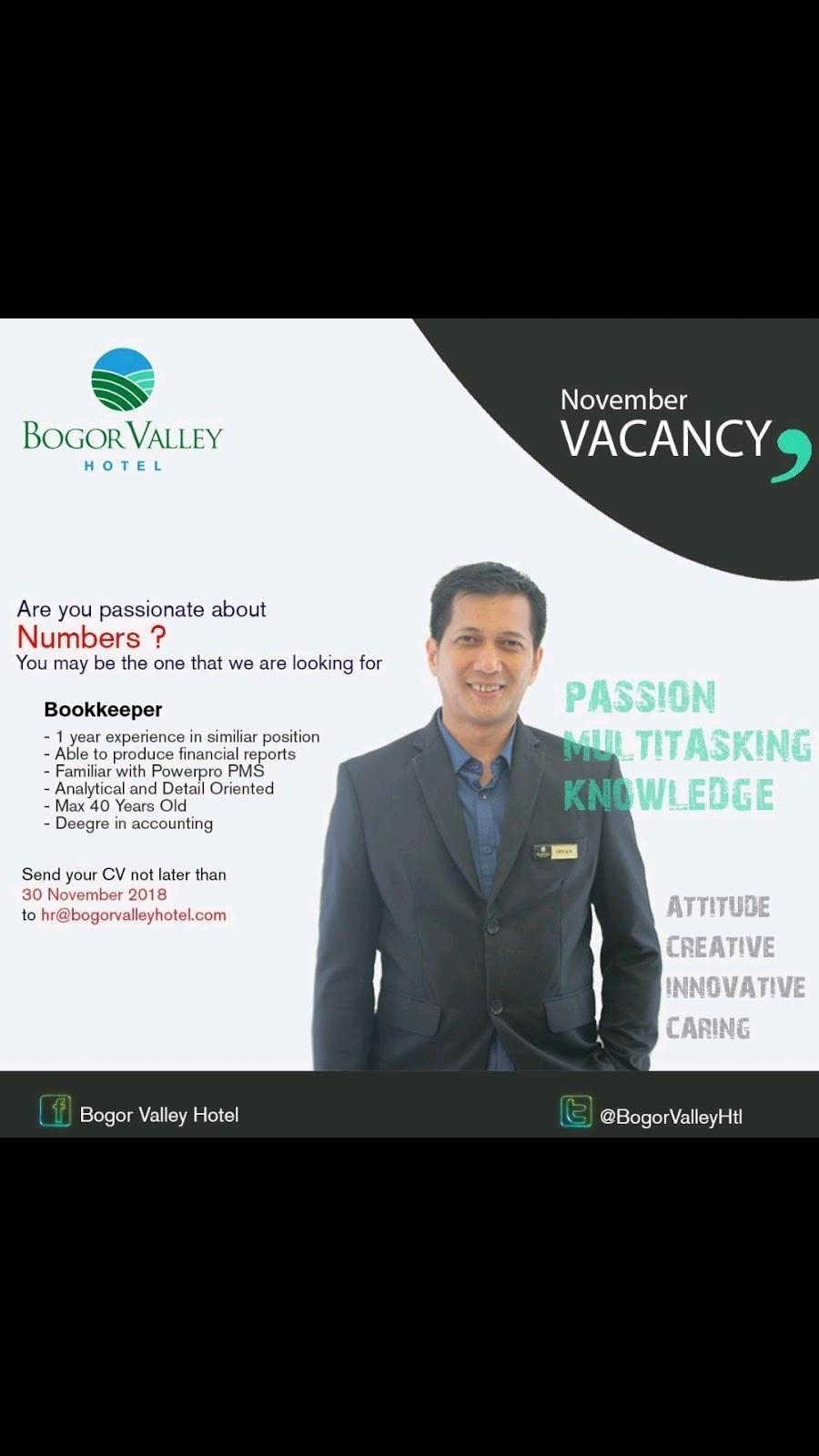 Lowongan Kerja Hotel Bogor Valley 1 Posisi Lowongan Kerja Hotel