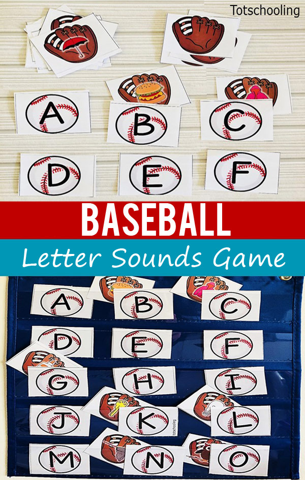 FREE printable alphabet game with a baseball theme, sure to be a hit with pre-k and kindergarten kids! Practice alphabet recognition and beginning letter sounds while playing this hide and seek game with 2 levels of difficulty. Place the baseball ball and mitt cards inside a pocket chart for an easy and fun literacy activity!