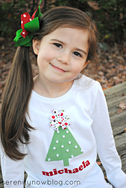DIY Embellished Christmas Tree Shirts, from Serenity Now