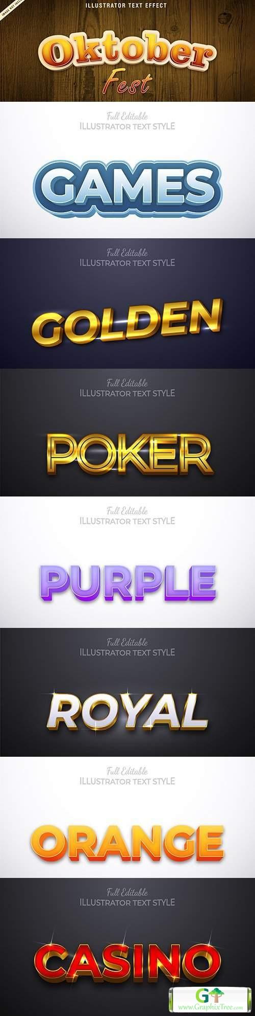 Editable font effect text collection illustration design 201