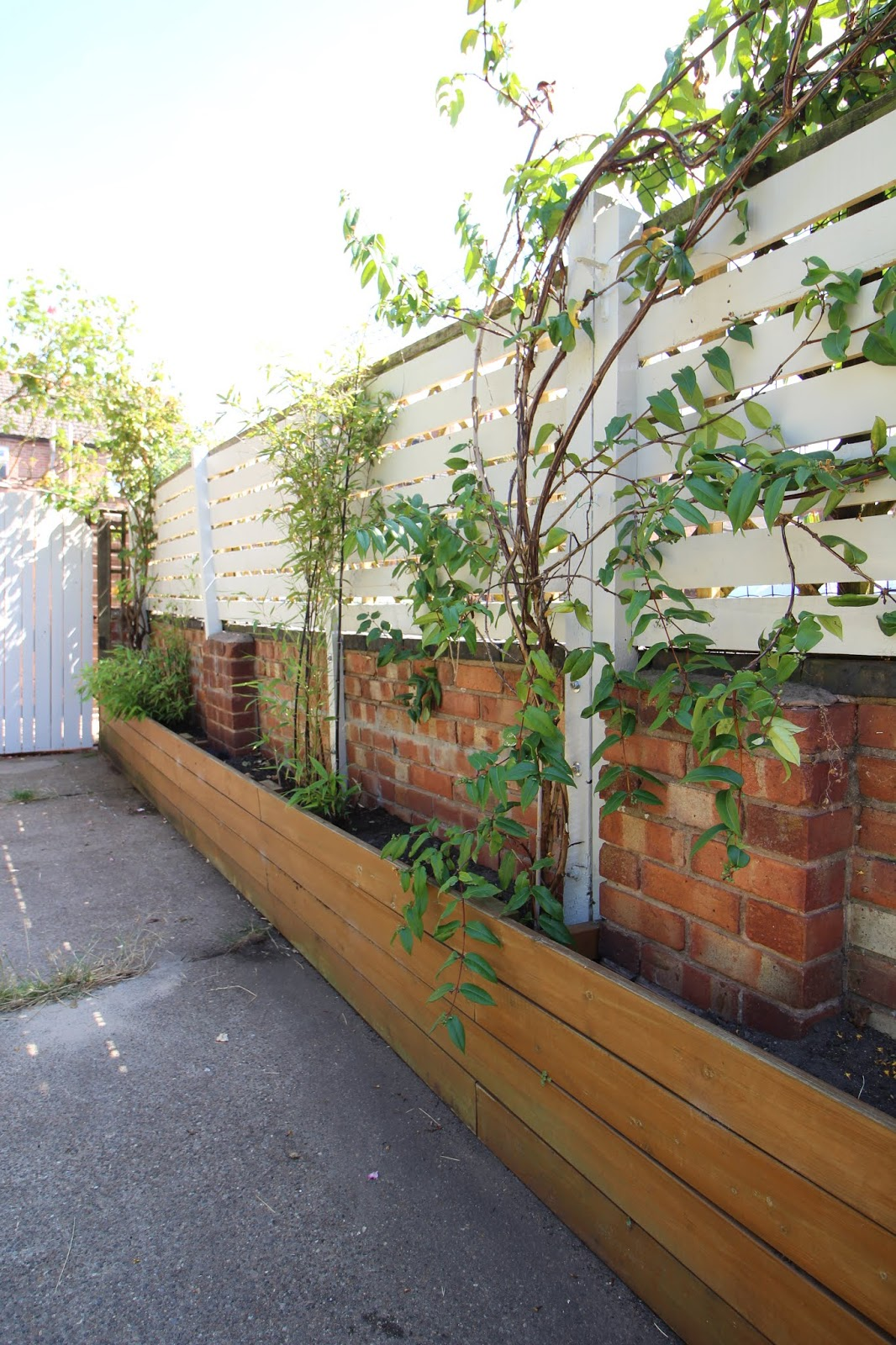 Modern Slat Fence in Garden DIY