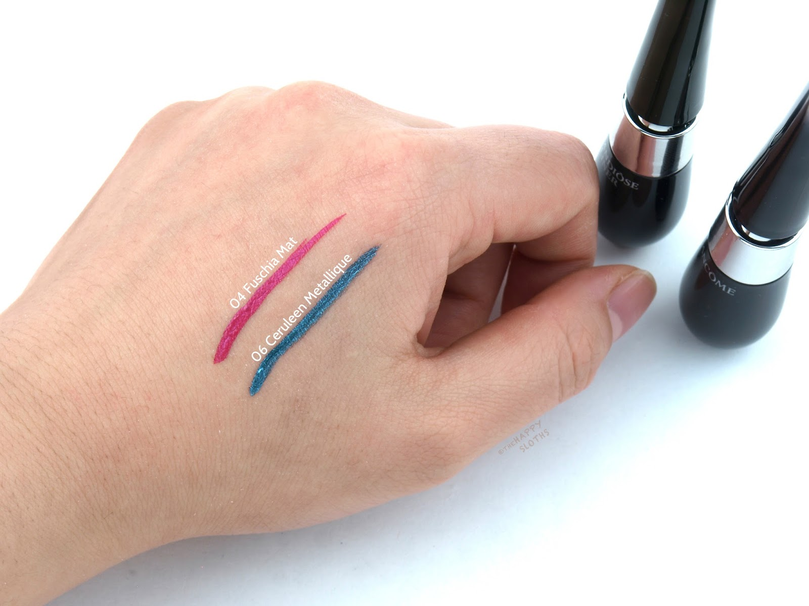 "Lancome Grandiose Liner ""04 Fuschia Mat"" & ""06 Ceruleen Metallique"" Review and Swatches"