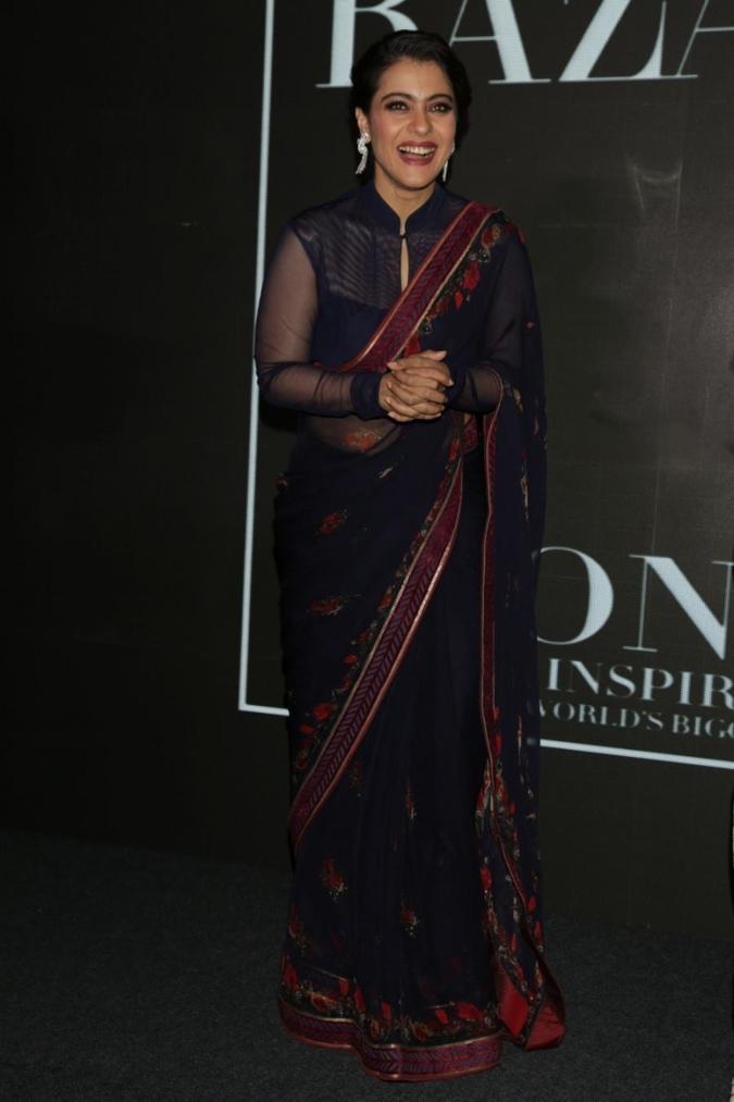 Glamorous Mumbai Actress Kajol Photos In Transparent Black Sari