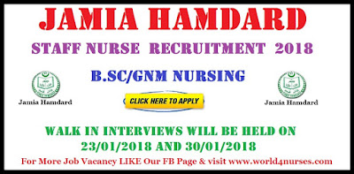Jamia Hamdard New Delhi Staff Nurse Walk In Interview January 2018