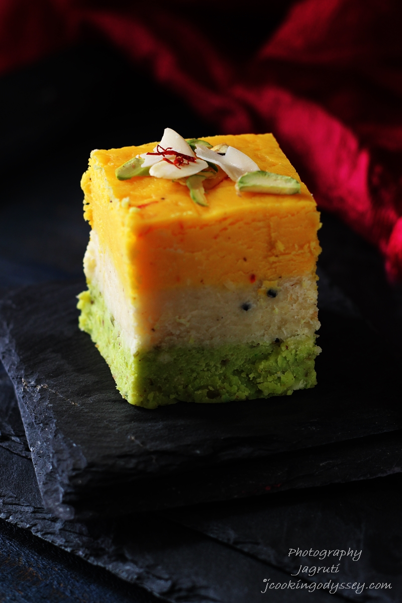These delicious Indian style milky fudge is flavoured with saffron, almond and pistachio.