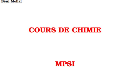 Cours Chimie Des Solutions Mpsi B U00e9ni Mellal