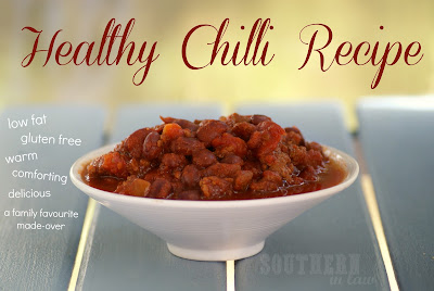Low Fat Chilli Recipe - Healthy, Gluten Free, Clean Eating Friendly, Paleo