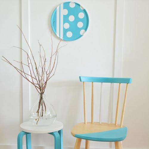 Pretty Aqua Beechwood Color Blocked Chairs