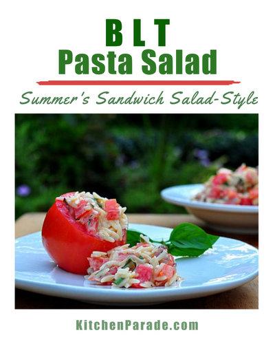 BLT Pasta Salad ♥ KitchenParade.com, a salad version of the summer classic BLT sandwich.