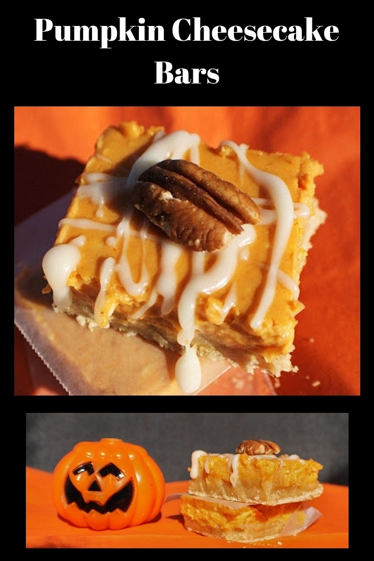 this is how to make a semi homemade pumpkin cheesecake bar that taste just like a pumpkin pie. This is an easy pumpkin pie bar that is quick using a cake mix for the bottom crust. These pumpkin cheesecake bars are the best pumpkin bar recipe.