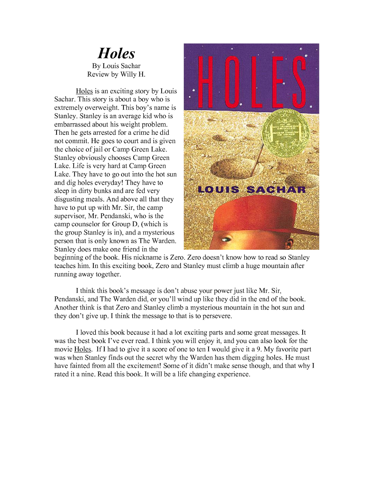 """A book report on the book """"Holes"""" by Louis Sachar Essay Sample"""